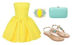 """Fun yellow dress"" by tania-alves ❤ liked on Polyvore featuring Martin Grant, Accessorize, Sandy Hyun and Rocio"