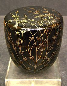 """""""Japanese Meiji Period wood lacquer Natsume with maki-e technique over branches and leaves. It is in excellent condition with no losses or damages, 2 3/4"""" tall x 2 3/4"""" D."""""""