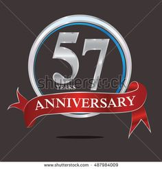 57 years silver anniversary logo with blue silver ring and red ribbon. anniversary logo for birthday, celebration, wedding and party