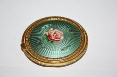 Art Deco Compact Green Guilloche Enamel Rose Powder Purse 1920s.  via Etsy.