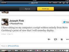 Joseph Fink (The real one I presume) is one sneaky gentleman. I can't even picture this...