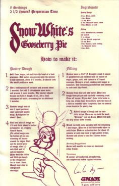 Filmic Light - Snow White Archive: Gooseberry Pie Recipe & Tin from Italy
