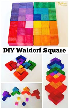 You can use this DIY Waldorf square to make patterns as a puzzle and as blocks. Many variations of shapes colors and patterns are possible. Both kids and adults can exercise their geometric and spatial thinking by playing with this puzzles beautiful n Waldorf Crafts, Diy Waldorf Toys, Waldorf Preschool, Waldorf Kindergarten, Preschool Toys, Woodworking For Kids, Woodworking Hacks, Woodworking Organization, Woodworking Quotes