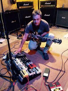 Jonathan Gunn shows off his pedal-board and Marshall amp rig.