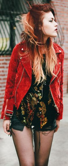 Unif Red Suede Jacket by Le Happy. UNIF is one of my favorite clothing brands and full-fills my fashion needs. It has the gothic punk/ rock/ hipster look that makes me melt and beg my mother for money for.