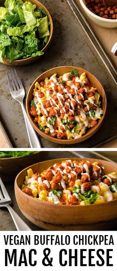 Buffalo chickpeas Mac and cheese Chickpea Recipes Easy, Veggie Recipes, Diet Recipes, Vegetarian Recipes, Cooking Recipes, Healthy Recipes, Recipies, Vegan Foods, Vegan Snacks