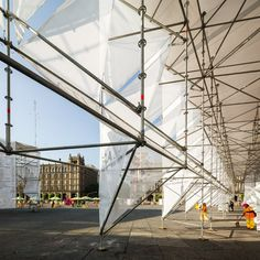 MMX uses scaffolding and canvas to build a cluster of origami-like pavilions in Mexico City Temporary Architecture, Facade Architecture, Innovative Architecture, Tensile Structures, Temporary Structures, Small Buildings, Light Of Life, Facade Design, Small Spaces