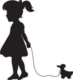 Girl Silhouette | Girl Clipart Image - Little Girl Pulling Her Toy Along