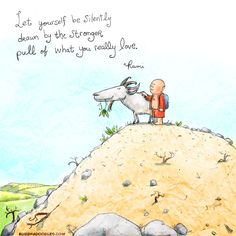 """""""Let yourself be silently drawn by the stronger pull of what you really love."""" - Rumi, illustrated by mollycules Buddha Doodles Rumi Quotes, Yoga Quotes, Inspirational Quotes, Motivational, Buddhist Wisdom, Buddhist Quotes, Tiny Buddha, Little Buddha, Buddah Doodles"""