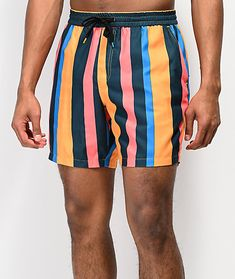 Give your beach-ready looks a splash of colorful style and pattern, with the Empyre Floater Striped Board Shorts. These short-fitting board shorts feature pink, blue, gold and green vertical stripes throughout for a truly striking look. Two front hand poc Safe Storage, Vans Slip On, Blue Gold, Pink Blue, Beach Ready, Vertical Stripes, Colorful Fashion, Business Casual, Gym Shorts Womens