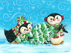 Penguin Christmas - Art by Cheryl Hamilton Christmas Arts And Crafts, Christmas Bird, Christmas Scenes, Christmas Decorations, Merry Christmas, Christmas Graphics, Christmas Clipart, Christmas Printables, Christmas Greetings