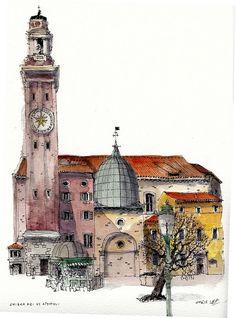 Chris Lee   WATERCOLOR SKETCH Santi Apostoli, Venice