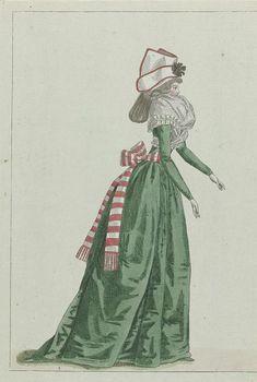 M. Le Brun | Fashion News, M. Le Brun, 1791 | Vrouw, van opzij gezien, volgens de begeleidende tekst gekleed in een japon van groene satijn. Om het middel een rood/wit gestreepte ceintuur met aan de uiteinden franjes. De manchetten afgezet met een 'parement à la Houssarde'.  Een gestreept fichu bedekt de hals. Coiffure 'à la Cavallière' waarop een 'bonnet à la paysanne' van witte gaze, met rode bies en zwarte kokarde. De prent is de linkerhelft van het 3e cahier, 2e année, van het…