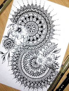 Doodle Art Drawing, Zentangle Drawings, Plant Drawing, Mandala Drawing, Mandala Painting, Pencil Art Drawings, Art Drawings Sketches, Zentangle Patterns, Tattoo Drawings