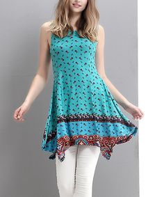 Look at this Blue Floral Handkerchief Tunic on #zulily today!