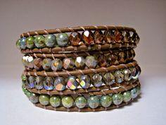 Beaded leather wrap bracelet green with by CristinaDavisJewelry, $47.50
