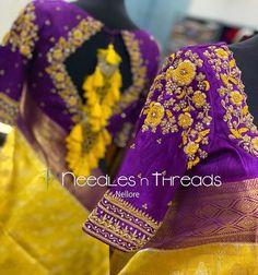 Wedding Saree Blouse Designs, Pattu Saree Blouse Designs, Half Saree Designs, Fancy Blouse Designs, Wedding Blouses, Sari Blouse, Hand Work Blouse Design, Stylish Blouse Design, Sleeves Designs For Dresses