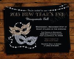 New Year's Eve Masquerade Party Invitation - NYE Party Invite - Silver & Gold - Masquerade Ball - Holiday Invite - Printable