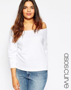 Image 1 ofASOS CURVE Off The Shoulder Sweatshirt