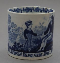 Antique Staffordshire Pottery Pearlware Blue Printed Child s Mug 1825 Present Blue And White China, Blue China, Antique Pottery, Ceramic Pottery, Childrens Cup, Willow Pattern, Country Blue, White Dishes, Earthenware