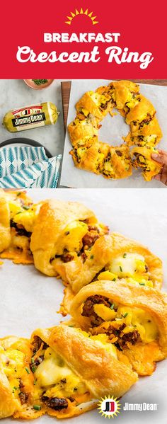 This sun-shaped wreath of crescent roll deliciousness makes holiday mornings even better. The melted layer of cheese atop the savory Jimmy Dean Premium Pork Sausage, surrounded by a crispy, flaky exterior sets up a filling flavor journey. Sausage Breakfast, Breakfast Dishes, Breakfast Casserole, Breakfast Recipes, Cornbread Casserole, Breakfast Ideas, Breakfast Ring, Vegetarian Breakfast, Breakfast Burritos