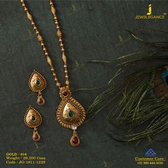 Beautifully crafted with elegance. Get in touch with us on Gold Necklace Simple, Gold Jewelry Simple, Antique Jewellery Designs, Gold Jewellery Design, Gold Mangalsutra Designs, Bridal Jewelry, Touch, Neck Piece, Green Silk