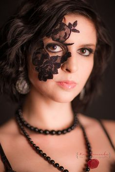 Womens Halloween Costume Accessory Lace Mask adheres with included spirit gum