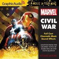 This is the GraphicAudio version of Marvel: Civil War by Stuart Moore. This is a rather different story than the one in the movie. I've read the book by Stuart Moore, I've listened to the audiobook, and I've watched the movie that was just released this year. Having seen how different the book (and audiobook) are to the movie, I'm interested to see how the graphic novels compare. Oh, and the GraphicAudio versions of books are ones with multiple actors and sound effects.