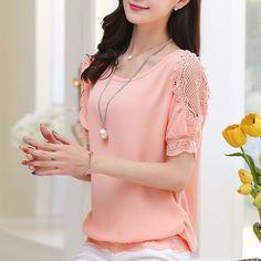 Mulheres verão lace chiffon camisa de manga curta fina loose women moda camisas…