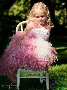 Doing this for her 5th Birthday Photos <3..Cotton Candy Couture Scrumptious Feather Lined Dress With Stretch Lace Top