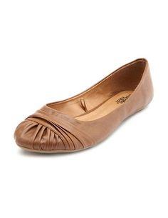 Leatherette Pleated Toe Flat $22.50