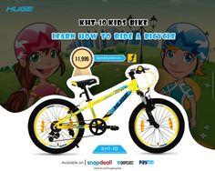 KHT-10 Especially designed for #Kids for learning #bicycling in a perfect way! #RideWithHuge Special price available on #Flipkart For Product Inquiry call at : 9041021821