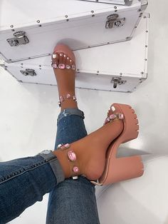 Just Insheila Pink Platform Heels. Fancy Shoes, Pretty Shoes, Crazy Shoes, Me Too Shoes, High Heels, Shoes Heels, Pumps, Aesthetic Shoes, Hype Shoes