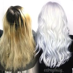 Correction: grown out, faded and damaged to ice white - hair color - modern salon Ice Blonde Hair, Icy Blonde, Platinum Blonde Hair, Blonde Color, White Blonde, Ice Hair, Bleach Blonde, Golden Blonde, White Ombre Hair