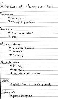 functions of neurotransmitters Medical Students, Nursing Students, Nursing School Notes, Ob Nursing, Nursing Schools, Medical School, Medicine Notes, Biology Lessons, Pharmacology Nursing