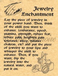 Jewelry Enchantment Spell, BOS Page, Real Witchcraft Spell for Book of Shadows