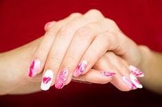 Love themed nail design for Vday. Love Nails, My Nails, Natural Nails, Manicures, Nail Designs, Beauty, Nail Salons, Nail Design, Nail Polish