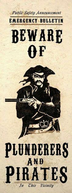 Items similar to Nautical Pirate Art Poster Beware Of Pirates Steampunk Decor on Etsy Pirate Day, Pirate Life, Pirate Theme, Pirate Decor, Pirate Crafts, Tiki Decor, Pirate Halloween, Halloween Cards, Steampunk Pirate
