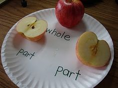 Learning With Mrs. Parker: September I am trying to be very explicit in my teaching of math vocabulary this year. So, for this chapter, our math words were: part and whole. Fun Math, Math Activities, Math Games, Math Math, Fraction Activities, Maths Resources, Teacher Resources, Part Part Whole, Envision Math