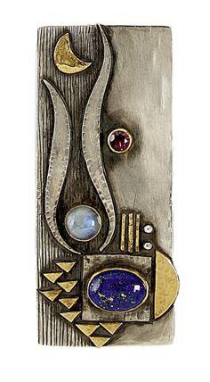 "Pendant/brooch | Linda Ladurner. ""Hommage à Max Ernst"". Silver, gold, lapis lazuli, labradorite, garnet"