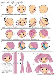 "How to do Amigurumi Hair - Tutorial ❥ // hf Quirky Artist Loft: DIY Yarn Rag Doll Hair Handy for getting great scalp coverage without crocheting!Sleepy Doll Amigurumi Free Crochet Pattern and Video TutorialKéptalálat a következőre: ""amigurumi Doll Crafts, Diy Doll, Crochet Crafts, Crochet Dolls, Crochet Doll Pattern, Crochet Ideas, Doll Tutorial, Amigurumi Tutorial, Sewing Dolls"