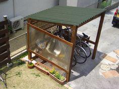 Backyard Storage, Bike Storage, Bike Shelter, Garden Huts, Bike Shed, Outdoor Sheds, Diy Bench, Outdoor Living, Outdoor Decor