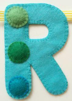 'R' of spotty 'Happy Birthday' hand sewn banner