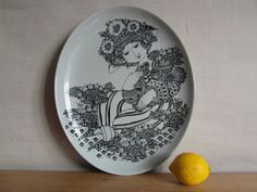 Bjørn Wiinblad - HUGE plate / wall hanging - PALOMA - for Nymølle Denmark -14 inches - mid century