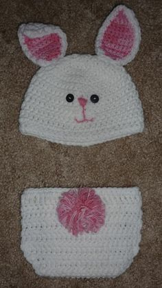 Crochet bunny hat and diaper cover