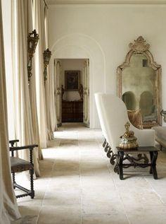 Limestone Floors--plastered walls by Segreto Finishes--Designer Eleanor Cummings