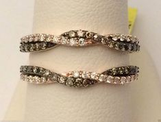10kt Rose Gold Wave Solitaire Enhancer Chocolate Champagne ...