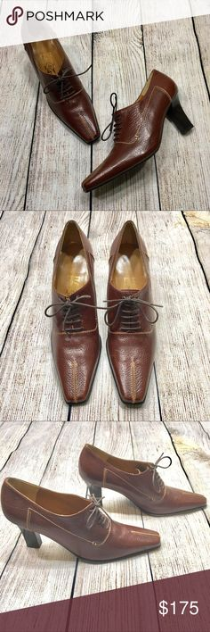 "salvatore ferragamo Brown Lace Up Oxford Heels Brown leather lace up heeled pointy toe oxford heels by Salvatore Ferragamo. Size 7.   Closure: Shoe Laces  Material: Leather  Measurements  Heel Height: 3"" Salvatore Ferragamo Shoes Ankle Boots & Booties"