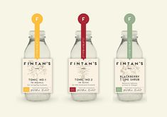 Brand design and labels for hand made tonic company Fintan's. Tonic Syrup, Packaging Design, Branding Design, West Cork, Spray Bottle, Blackberry, Button Tag, Lime, Cork Ireland