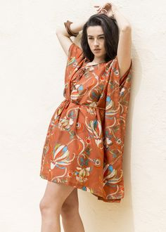 Orange Tropical Kaftan in Cotton and Silk Blend
